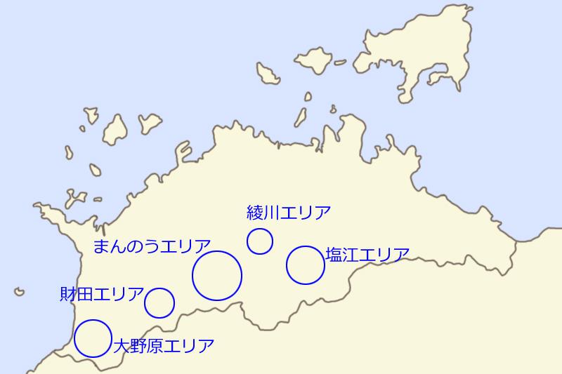 かがわ・山なみ芸術祭の開催エリア地図